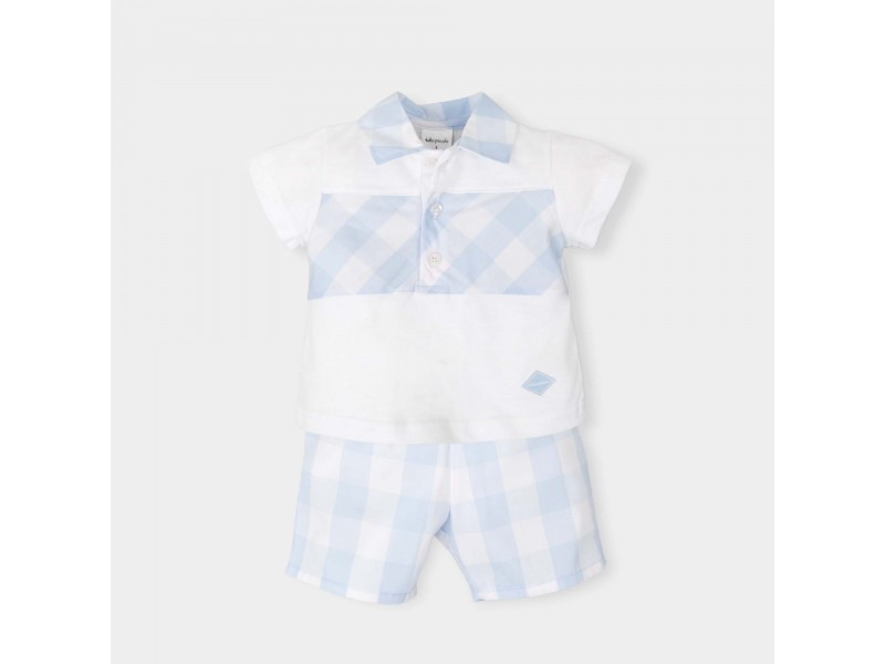 fac3ffa6f172 Tutto Piccolo Sky Blue Checked Shorts and T Shirt