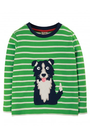 Frugi Glen Green Breton Dog Discovery Applique Top