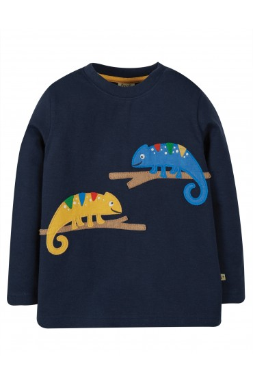 Frugi Indigo Chameleon Adventure Applique Top